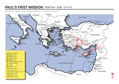 A map showing the apostle Paul's first missionary journey (Acts 13:4 - 14:28; AD 46-48). Mystery of History Volume 2, Lesson 3 #MOHII3