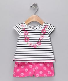 Take a look at this Black Daisy Chain Tee & Shorts - Toddler by BT Kids on #zulily today!