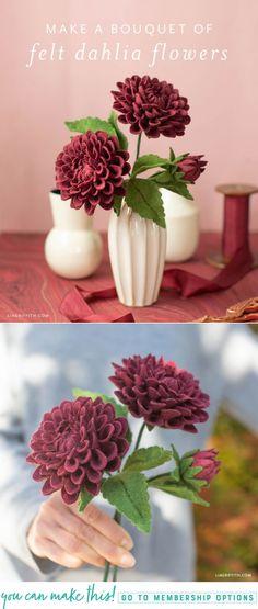 Felt Dahlia Flower Template and Tutorial #feltflowers