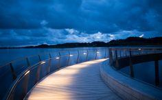 Haahammaren bridge in Stavanger, Norway Photo: Nanco Hoogstad Bro, Lighting, Stavanger Norway, Travel, Inspiration, Bridges, Design, Projects, Nature