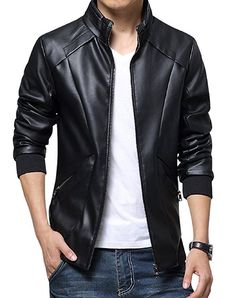 Men's Stand Up Collar Faux Leather Jacket Slim Fit,Black