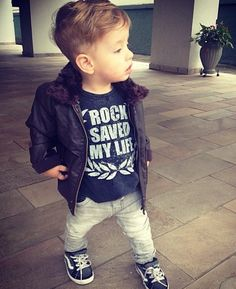 Soft Rocker Look- love his little hair cut! // grey skinnies, graphic tee, bomber jacket