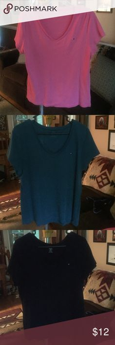 Womens Tommy Hilfiger Cotton knit tshirts Approximately 15 of these T-shirts short-sleeved. Available in pink, teal, navy, white, red/white/blue, Gray/yellow/navy/light blue, white/mauve/Jade green/turquoise, peach/white/gray, Gray/navy/pink, white/brown/burgundy/pink/, green/navy ALL SIZE XXL Tommy Hilfiger Tops Tees - Short Sleeve