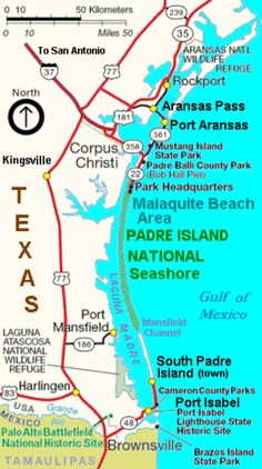 padre island | Map showing Padre Island National Seashore on Padre Island (center ...