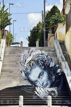 Pop Stairs street art project, Rome, Italy - 25 Aug 2015  Ingrid Bergman mural on a set of steps by street artist Diavù (David Vecchiato) 25 Aug 2015