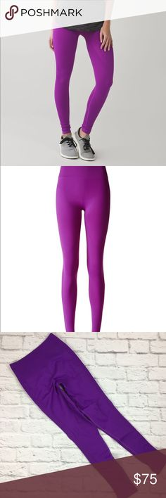 "Lululemon Zone In Tight Tender Violet Tights 6 Tender Violet (color looks different in my photos vs. stock photos but imthey are definitely the tender violet color, my camera just changes the color slightly) Women's size 6 Excellent preowned condition. No rips, stains or pilling. Length 34"", Inseam 25"", Waist 22""  Why we made this These yoga tights are engineered with zoned compression to keep you feeling held-in and supported in all the right places. lululemon athletica Pants Leggings"