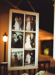 How sweet! Old family wedding photos enlarged and put in an old window!