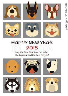 2018年 年賀状テンプレート「人気犬12種」シリーズ #2018年賀状 #年賀状テンプレート #戌年年賀状 #2018 #戌年 #年賀状 #テンプレート