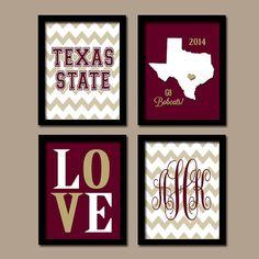 Texas State University College Go Bobcats Custom Monogram Initial Chevron State LOVE Wedding Set of 4 Prints Wall ART Graduation Gift on Etsy, $37.00