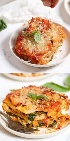 This EASY vegan Spinach Lasagna recipe is a cinch to make! It uses just 5 ingredients, tastes incredible and can easily be made gluten-free. Meatless and made with dairy-free vegan ricotta. A classic Vegetarian Lasagna Recipe, Easy Lasagna Recipe, Tasty Vegetarian Recipes, Vegan Dinner Recipes, Veggie Recipes, Healthy Recipes, Easy Spinach Lasagna, Vegetable Lasagna Recipes, Lasagna Recipe With Ricotta