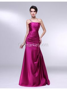 Satin Mermaid Beading One Shoulder Pleated Bodice Evening Dress Silhouette: Mermaid Neckline: One shoulder Hemline: Floor Length Train: Brush Embellishments: Beading Back Details: zipper Fully Lined: Yes Built-In Bra: Yes Materials: Satin Colours: Wine red Occasion : Evening, Milltary Ball, Formal occasion  Size Chart, Visit www.okmarket.com/...  Color Chart, Visit www.okmarket.com/...  How to Measure, Visit $165.00