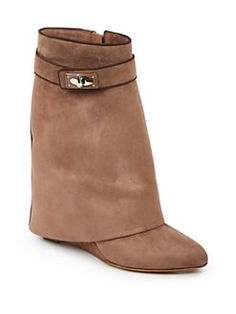 Givenchy - Shark Lock Suede 'Pants' Mid-Calf Wedge Boots