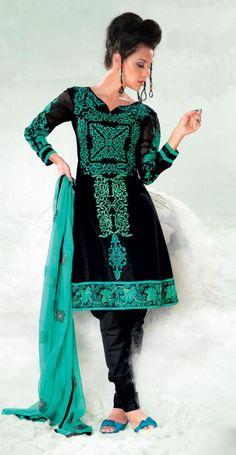 Black And Greenish Blue Cotton Salwar Kameez 15407