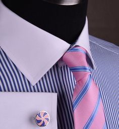 Details about Blue Oxford Thin Striped Business Formal Dress Shirt Contrast White French Cuffs - Suit Fashion Mens Fashion Wear, Suit Fashion, Best Dress Shirts, Shirt Dress, High Collar Shirts, French Cuff Dress Shirts, Business Formal, Formal Shirts, Well Dressed Men