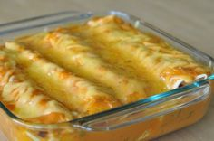 Mmmm...  :)  Roasted Red Pepper Enchiladas - can be made vegetarian pretty easily.