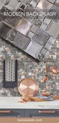 Glass and Metal Mix Copper Gray Color Kitchen Backsplash Tile