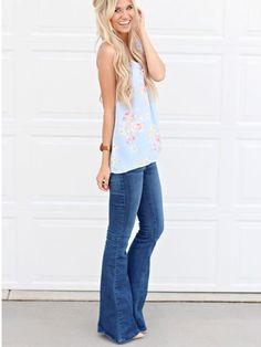 Stitch fix spring 2016 floral top and flare jeans