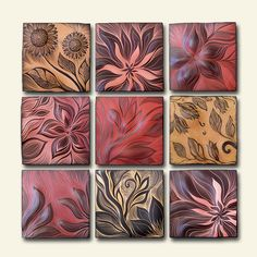 "Natalie Blake Studios - 42"" x 42"" handmade, sgraffito-carved ceramic wall art"