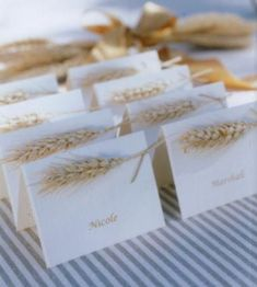 fall table: wheat place cards Plemon-Markovic, thanksgiving maybe? Thanksgiving Place Cards, Thanksgiving Tablescapes, Thanksgiving Decorations, Thanksgiving Wedding, Holiday Tablescape, Wheat Wedding, Wedding Table, Rustic Wedding, Wedding Ideas