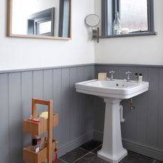 Looking for traditional bathroom decorating ideas? Take a look at this grey panelled bathroom from Style at Home for inspiration. For more bathroom ideas, visit our bathroom galleries at Wood Panel Bathroom, Bathroom Paneling, Downstairs Bathroom, Bathroom Cladding, Bathroom Curtains, Bad Inspiration, Bathroom Inspiration, Bathroom Ideas, Bathroom Vanities