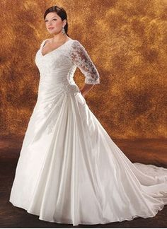A-Line/Princess V-neck Cathedral Train Taffeta Organza Lace Wedding Dress With Ruffle Beading