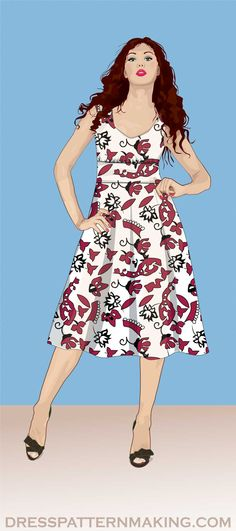 View All Dresses (Instructions) - Dress Patternmaking Line Patterns, Sewing Patterns, Make Your Own, How To Make, Flare Skirt, Step By Step Instructions, Pattern Making, Collars, Vintage