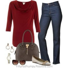Comfort Rules Today - denim, burgundy casual  40+ 50+ 60+ midlife chic/ style/ fashion