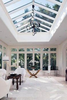Sunroom Decorating, Sunroom Ideas, Mid Century Landscaping, Sunroom Furniture, House Extension Design, Container House Design, Container Homes, Cottage Interiors, House Extensions