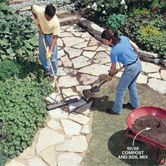 pathway - fill the cracks between stones with a 50/50 mix of soil and compost. sweep into cracks with broom.