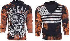 Archaic AFFLICTION Mens Hoodie Sweat Shirt Jacket RACER Biker USA Flag UFC $78