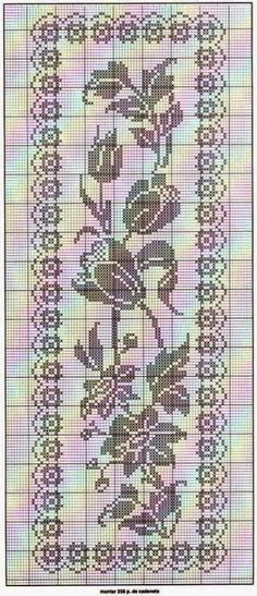 Filet crochet chart for a rose inspired table runner. Filet Crochet Charts, Crochet Motifs, Crochet Cross, Crochet Home, Thread Crochet, Crochet Stitches, Knit Crochet, Crochet Patterns, Crochet Table Runner
