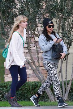Naya Rivera and Heather Morris on the Glee set