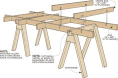 Knock-Down Sawhorse table for cutting plywood