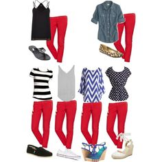 How to wear red crop pants