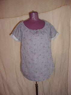 Ruff Hewn Peasant Top Blouse Shirt size Medium Blue Cotton Floral India #RuffHewn #Blouse #Casual Seller florasgarden on ebay
