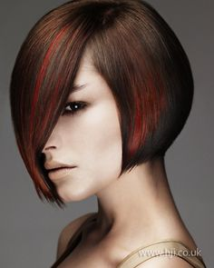 Brown, black, & red bob. If I could pull this off...I SO would.