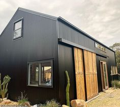 Modern Barn, Modern Farmhouse, Blue Shed, Timber Walls, Barn Renovation, Barns Sheds, Shed Homes, Steel Buildings, The Ranch