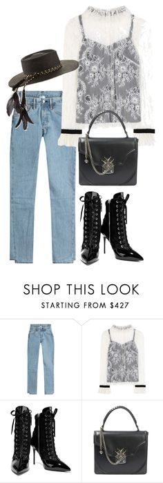 """""""Untitled #3524"""" by bubbles-wardrobe ❤ liked on Polyvore featuring Vetements, Philosophy di Lorenzo Serafini, Giuseppe Zanotti, Alexander McQueen and Gladys Tamez Millinery"""