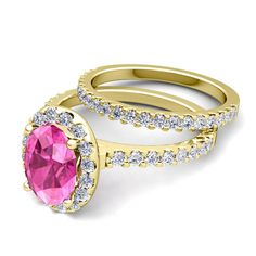Pave Diamond And Pink Sapphire Ring Bridal Set In K White Or Yellow Gold   Cttw
