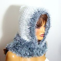 Hooded Hat Crochet White Gray Hooded Hat Winter by RoseAndKnit