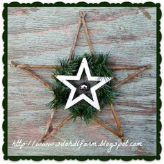rustic star with evergreen