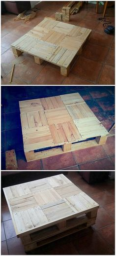 A low heighted wood pallet stylish table creation has been made the part of this image! Such table designs do stand out to be perfect option when you want to use them as the coffee tables. Plank slots are arranged together in variation formations that looks surprisingly excellent.