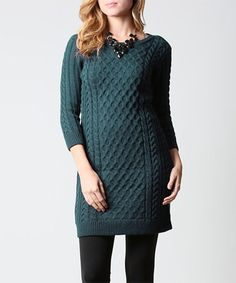 Loving this Peacock Cable-Knit Sweater Dress on #zulily! #zulilyfinds