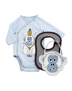 Long-Sleeve Monkey-Print Playsuit & Bibs, Pastel Blue, Size 1-6 Months by Little Marc Jacobs at Neiman Marcus.