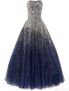 Real Beauty Long Ball Gown Strapless Sequin Shiny Modest Prom Dresses K113