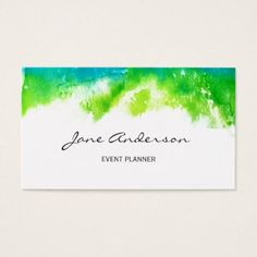 Blue green watercolor abstract splash business card - minimalist office gifts personalize office cyo custom