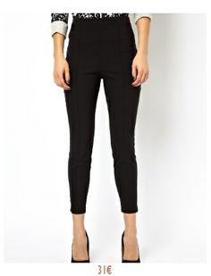 Pantalon court taille haute coupe skinny - Noir