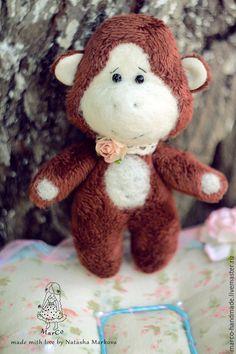 Купить Плюшева обезьянка - коричневый, обезьянка, обезьяна, игрушка ручной работы, игрушка, авторская работа