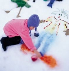 Paint a masterpiece in the snow. | 32 Easy And Inexpensive Ways To Keep Kids Entertained This Holiday Season