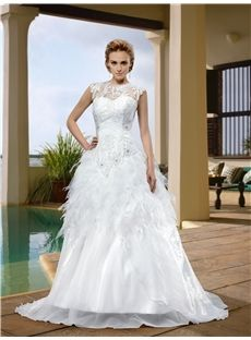 Chaming Jewel Floor-Length Beading A-Line Sweep Train Wedding Dress